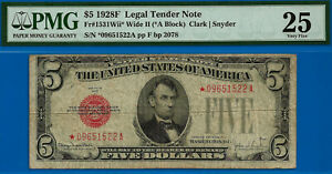 Total 9 Notes Graded - 1928-F $5 US Note (( Wide II - STAR )) PMG 25 # *9651522A