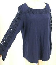 CHICO'S - WOMEN'S 2 - BLUE LIVVY CROCHET SLEEVE KNIT TOP - NWT