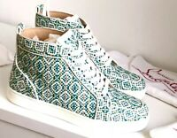 NEW CHRISTIAN LOUBOUTIN Runtus Orlato Woman Flat White Sneakers High Top 41 AUTH