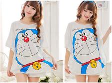New Doraemon Womens Cute Sleepwear Pajamas Set Short Sleeve Nightgown