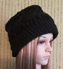 Knit Hat, Womens Black Cable Wool Beanie, Skull Cap, Ladies Hand Knit, Winter