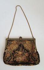 VNTG Antique Purse Chain Handle Metal Clasp Beaded Accent Floral Black Bronze