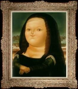 Hand-painted Oil painting Reproduction Fernando Botero Fat Mona Lisa on canvas