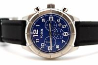 Fossil Men's Blue Watch Black Silicon Band Chronograph Dial  BQ1244