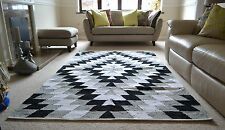 Large Cotton Rug Black White Grey HandMade Woven Geometric 150x240cm 5x8'