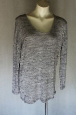 🏴 SIZE L ALLY GREY LONG SLEEVE V NECK KNIT  SWEATER TOP POST 5+ FREE