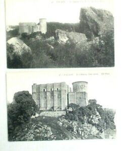2 Vintage 1910s prelinen postcards of The Chateau at Falaise, France