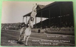 Pendleton Round Up 1911 Jason Stanley's Drunken Ride  Postcard Burrell Photo