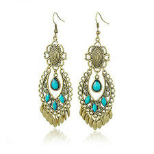 Vintage Antique Gold & Turquoise Blue Chandelier Long Drop Dangle Earrings E619