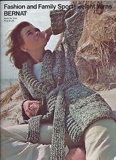 Bernat Book #214 Fashion Family Sports Weight Sweaters Knitting Patterns 1974