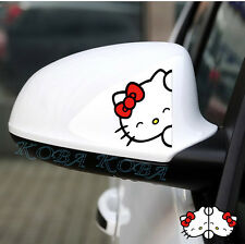 2pcs Red Bowknot Black Naughty Hello Kitty Car Rearview Mirror Decal Sticker