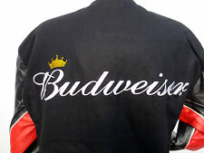BUDWEISER KING OF BEERS WOOL LEATHER REVERSIBLE JACKET CHASE AUTHENTICS NASCAR