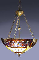 """Tiffany Style Stained Glass Amberjack Hanging Lamp Handcrafted 16"""" Shade"""