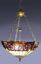 "Tiffany Style Stained Glass Amberjack Hanging Lamp Handcrafted 16"" Shade"