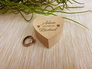 Names and Date Wedding Ring Carrier Heart Box Personalised Engagement Gift
