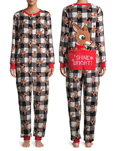 Holiday Christmas Women's Pajama Grinch Dr.Seus Rudolph Elf  Friends Union Suit