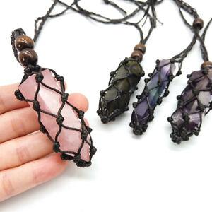 Interchangeable Macrame Pouch Crystal Quartz Point Necklace Wrapped Amulet