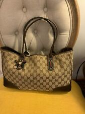 GUCCI PRINCY Brown Monogram Signature GG  & Leather Tote Purse Bag