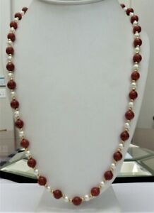 """ESTATE 14K GOLD 8MM ORANGE RED CORAL 5-6MM PEARL BEADS NECKLACE 24 1/4"""" LONG"""