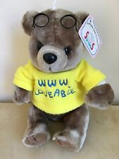 """Soft Things Brown Teddy Bear Plush Yellow WWW.LOVEABLE Shirt and Glasses 9"""" NWT"""