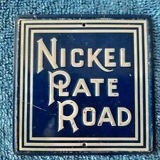 "Old Sugar Crisp Nickel Plate Railroad Tin Sign; 3"" Square -"
