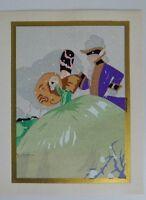 Gravure ancienne coloriée au pochoir signée Gaston Marechaux c.1930