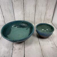 Signed Studio Art Pottery Bowls Blue Teal  Brown Drip  Soup Pasta Cereal (2)