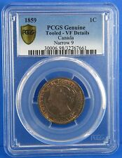 1859 One Cent Canada Narrow 9 PCGS Certified VF Details Genuine Tooled Canadian