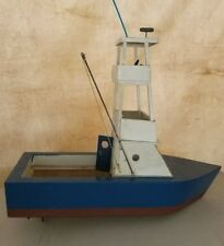 Antique Vintage Wood Pond Boat Flybridge Unique! With Motor etc,2 Feet Long Nice