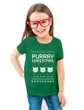 Purrry Christmas Ugly Sweater Cute Cats Toddler/Kids Girls' Fitted T-Shirt Cute