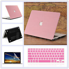 "3in1 Wooden Leather Matte Case+KB Cover+LCD Film for MacBook Air 11"" Pro 13"" 15"""