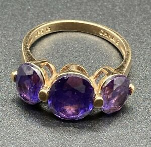 Designer Ross Simons Sterling Silver with Gold Wash Amethyst Ring Size 8