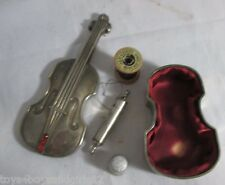 lined CELLO  ETUI w/ red stones,needle thread case,spool,thimble;Antique c1900