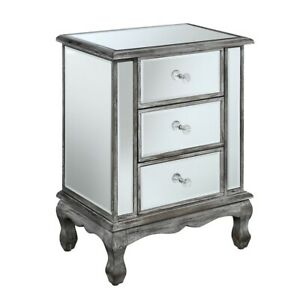 Convenience Concepts GC Vineyard 3 Drawer End Table, Gray/Mirror - 413359WGY