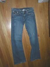 True Religion Bridget button pockets blue stretch jeans size 28 low rise long