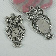 5Pcs tibetan silver color owl clock design charms EF0511