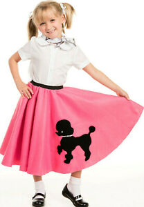 Youth Poodle Skirt Hot Pink with Musical note printed Scarf