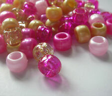 100 Indian Summer Mix Gold Pink Pearl Glitter Pony Beads Loom Bands Dummy Clip