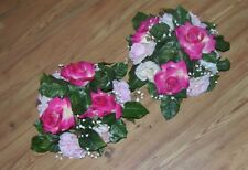 New! Set Of 2 Candle Ring Pink Roses Silk Artificial Centerpieces Flowers