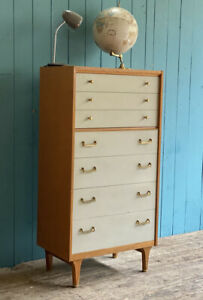 Mid Century G Plan China White Teak Tallboy Retro 7 Chest Of Drawers *DELIVERY