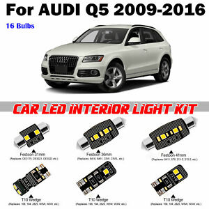 16pcs Super White LED Interior Light Kit Package For AUDI Q5 NoSunroof 2009-2016