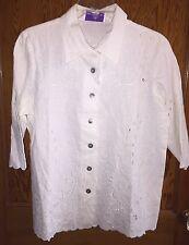 NWT Womens SUSAN GRAVER White LINEN Button Down Shirt Embroidery Cutout SMALL