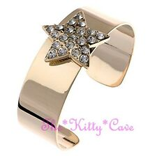 18 KGP Polished Gold Catwalk Astrology Star Cuff Bangle w/ Swarovski Crystals