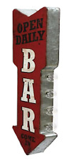 Open Daily Bar Sign Double Sided Arrow Marquee W/ Led Lights Beer Bar Man Cave