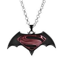 Fashion Women Crystal Rhinestone Silver Chain Superman Batman Pendant Necklace