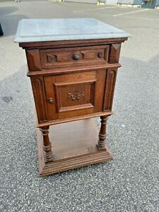 ANTIQUE LOUIS FRENCH MARBLE TOP CARVED OAK BEDSIDE CABINET STAND CUPBOARD