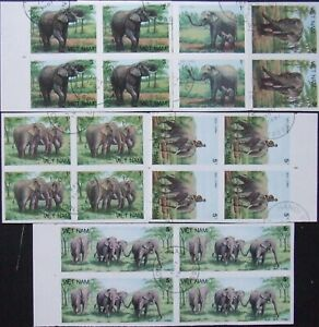 Vietnam-ELEPHANTS 7 St. in Block of 4,imperf,,Cancel,1987 VO10/L