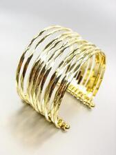 GORGEOUS Artisanal Gold Metal Ribbed PLUS SIZE Wide Cuff Statement Bracelet