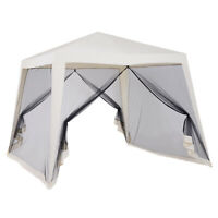 10x10ft Gazebo Canopy Outdoor Party Tent w/ Mesh Screen Walls Beige