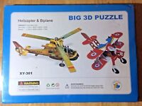 Big 3 D Puzzle Helicopter & Biplane Ages 3 & Up NIB Sealed 2 in 1
